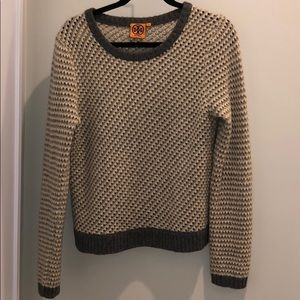 tory burch white cream grey perforated sweater